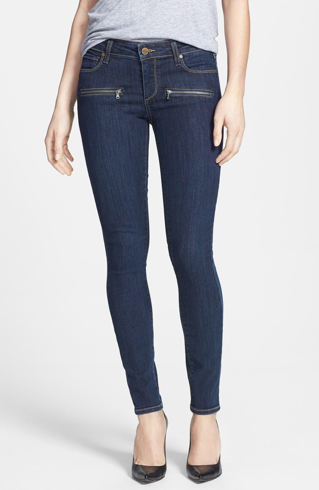 Main Image - Paige Denim 'Indio' Zip Detail Ultra Skinny Jeans (Delancy No Whiskers)