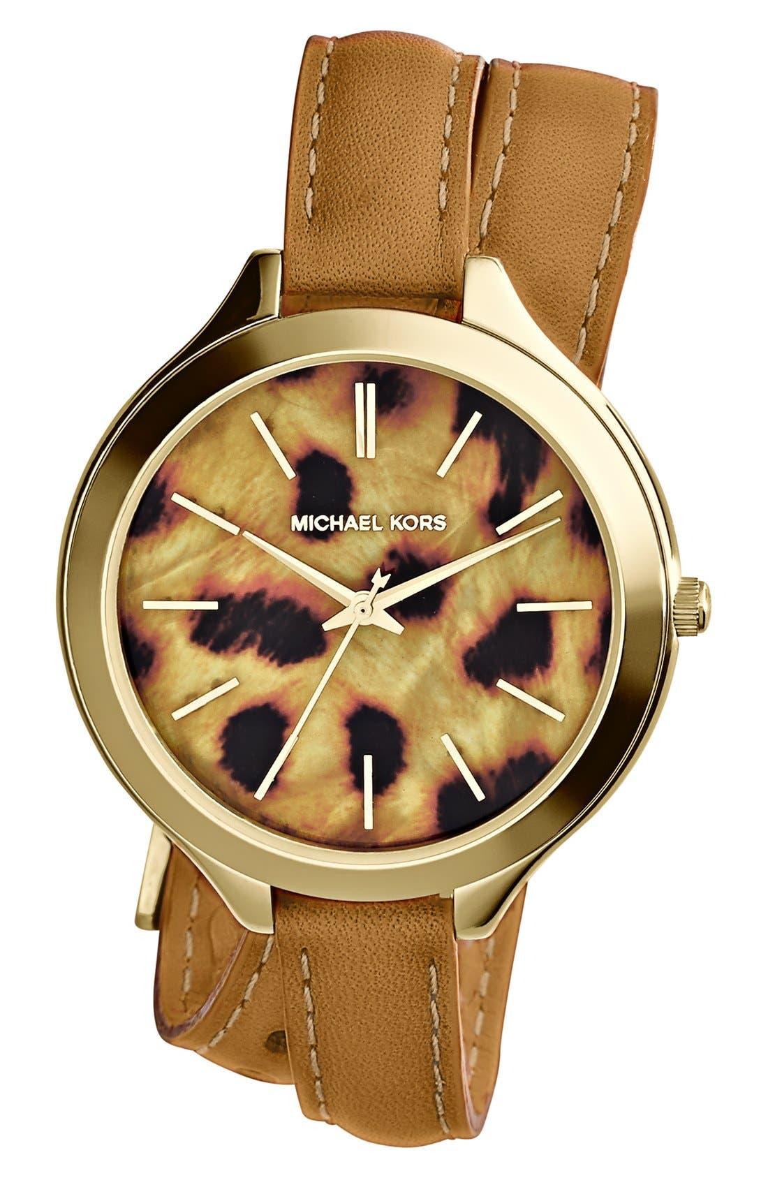 Alternate Image 1 Selected - Michael Kors 'Slim Runway' Cheetah Dial Leather Wrap Watch, 42mm