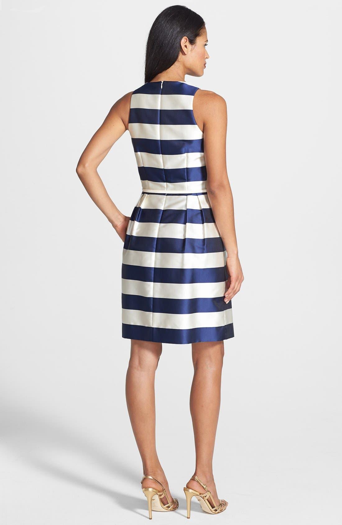 Alternate Image 2  - Donna Ricco Belted Stripe Matte Satin Dress