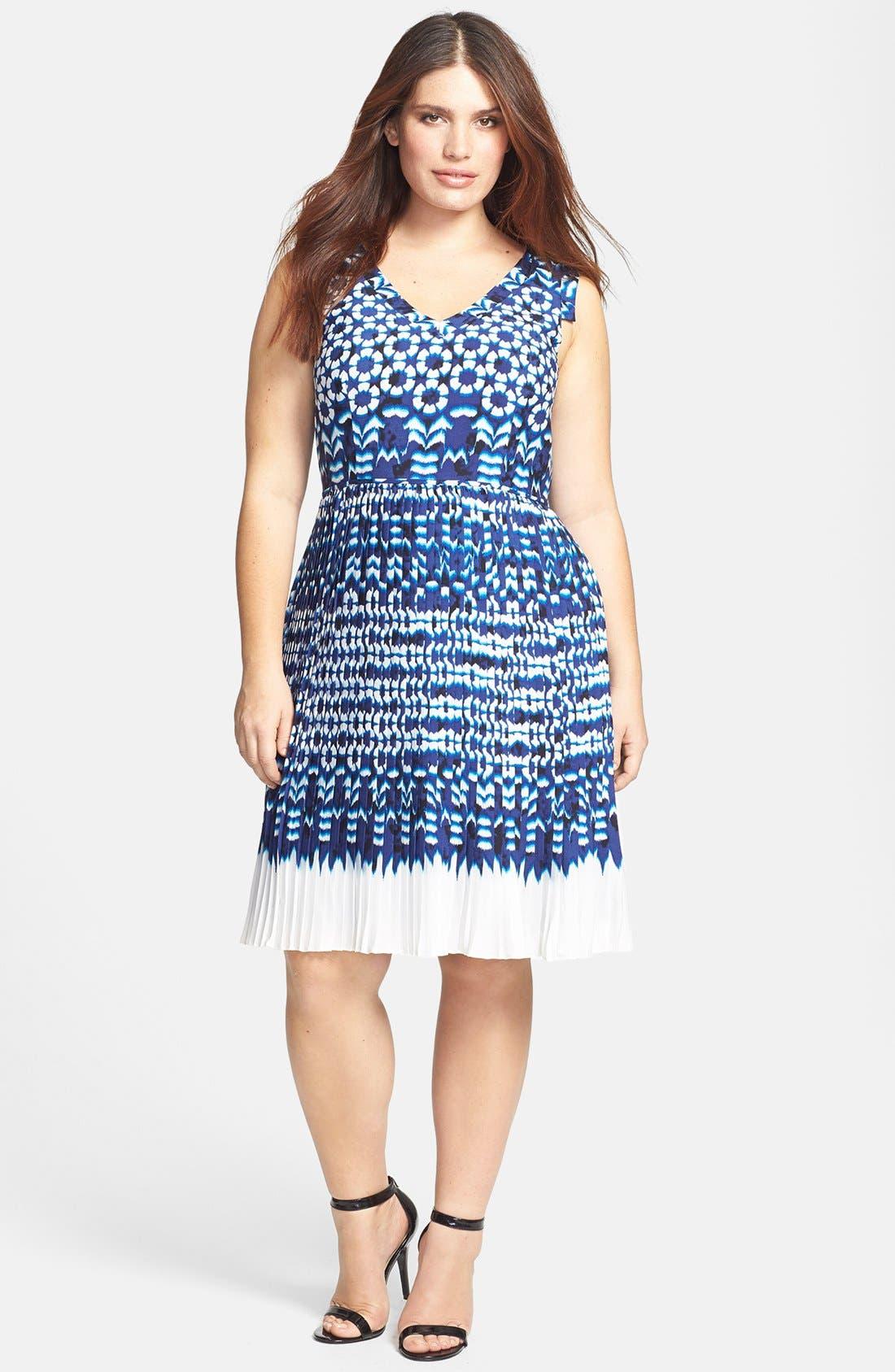 Main Image - Adrianna Papell Ikat Print Pleat Fit & Flare Dress (Plus Size)