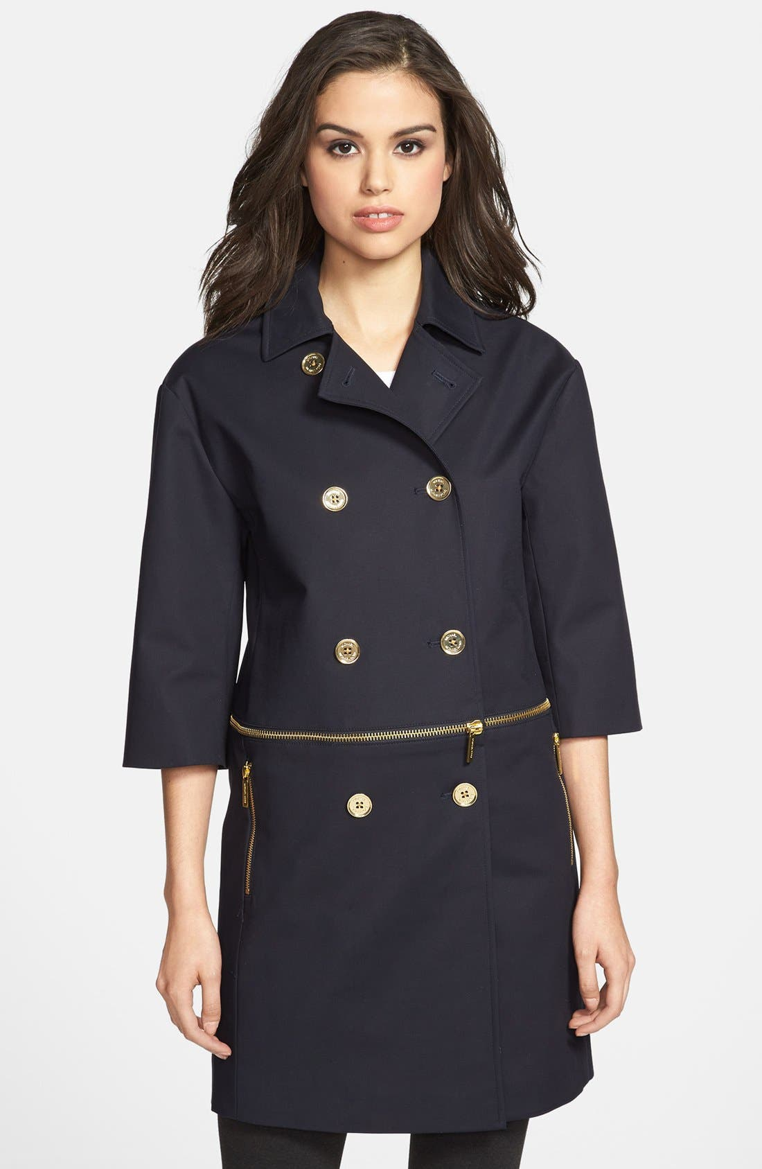 Main Image - MICHAEL Michael Kors Zip Detail Double Breasted Coat