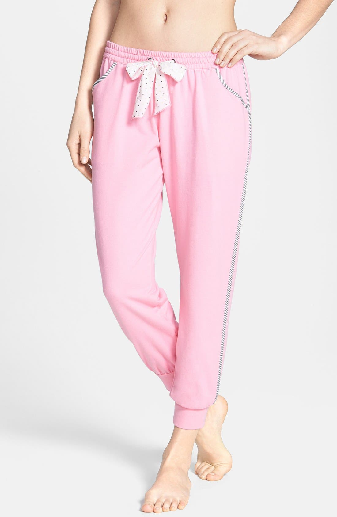 Main Image - kensie 'Rosy Outlook' French Terry Ankle Pajama Pants