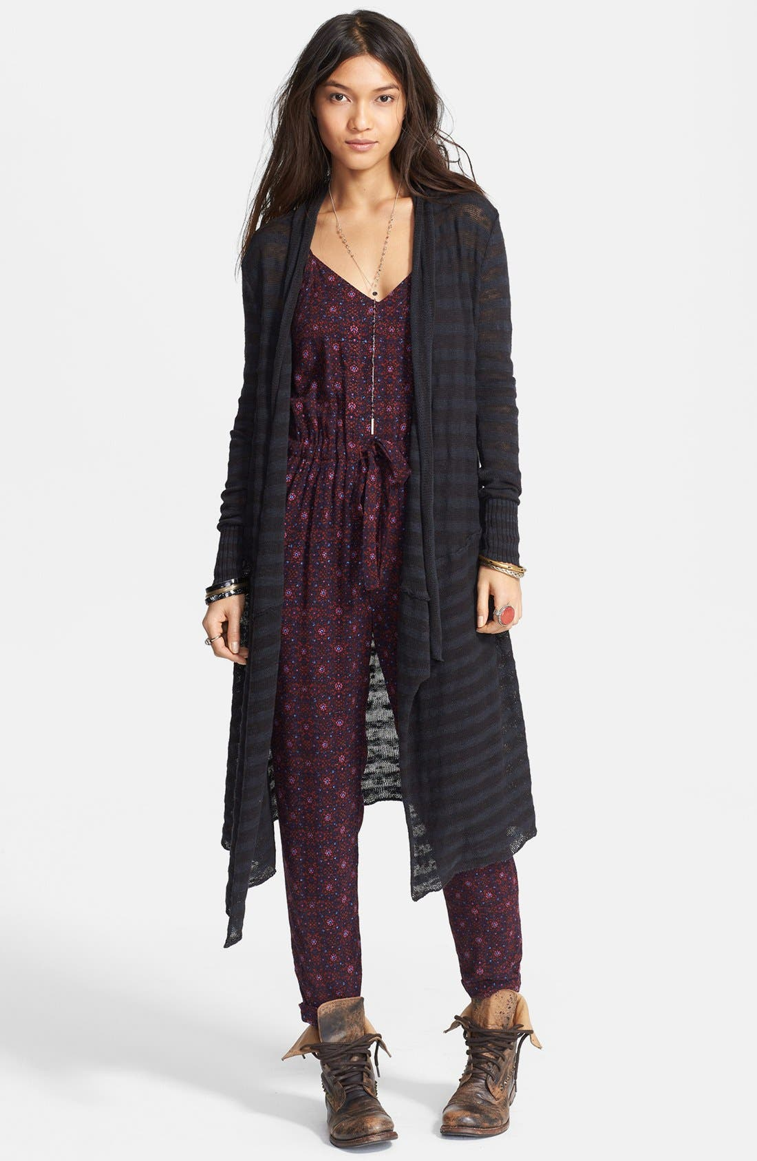 Main Image - Free People 'Forget Me Not' Stripe Drape Front Cardigan