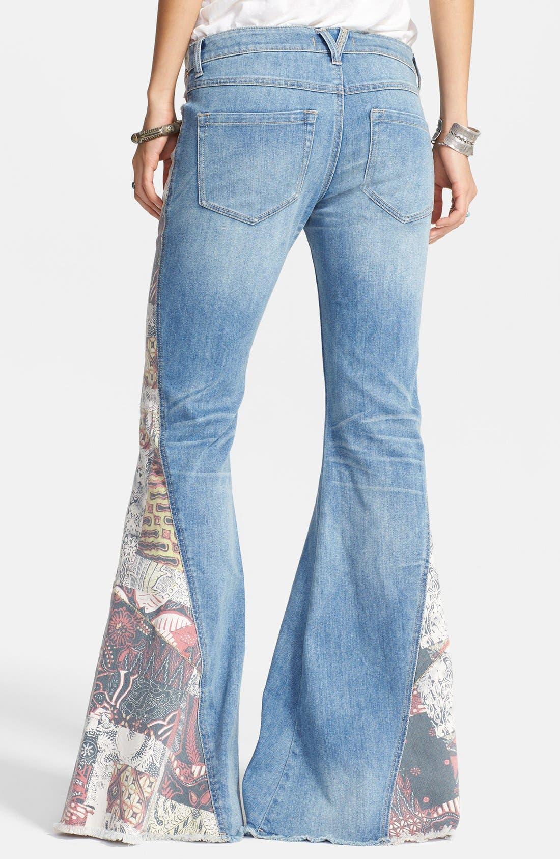 Alternate Image 2  - Free People 'Bali' Patchwork Flare Leg Jeans (Indigo Combo)