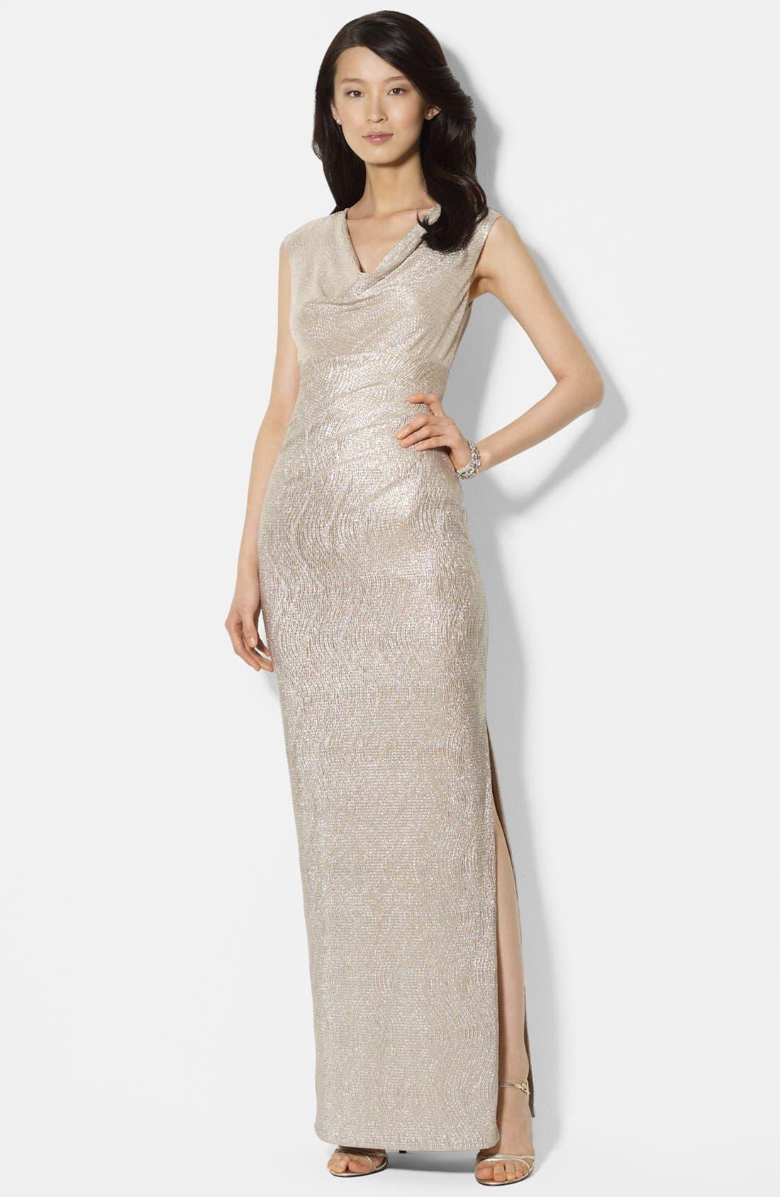 Main Image - Lauren Ralph Lauren Metallic Knit Gown (Regular & Petite)