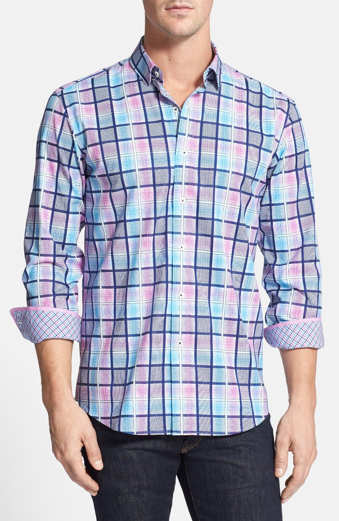 Main Image - Bugatchi Shaped Fit Checked Sport Shirt
