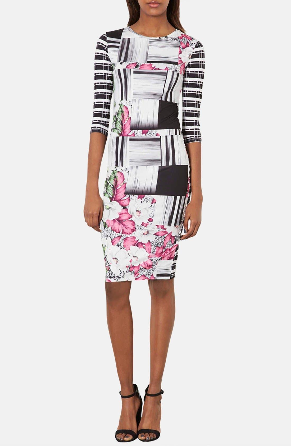 Main Image - Topshop 'Ahola Check' Print Jersey Body-Con Dress