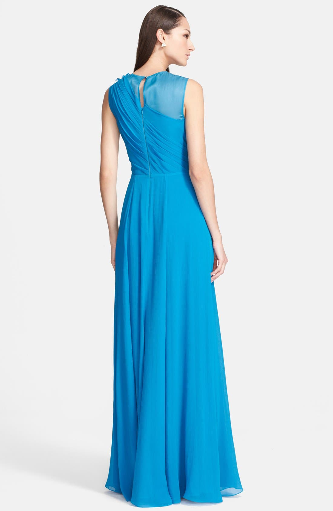 Alternate Image 2  - St. John Collection Organza Inset Drape Bodice Silk Georgette Gown