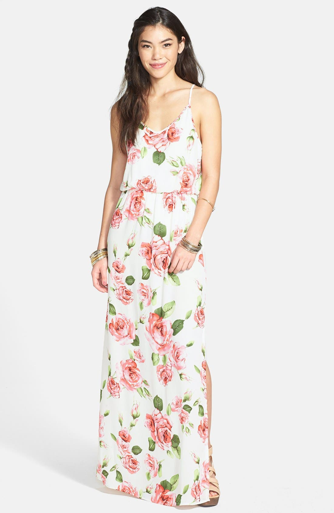 Alternate Image 1 Selected - Lush Cage Strap Floral Maxi Dress (Juniors) (Online Only)