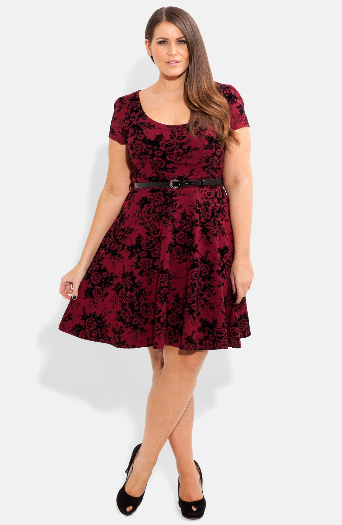 Alternate Image 1 Selected - City Chic Floral Print Skater Dress (Plus Size)