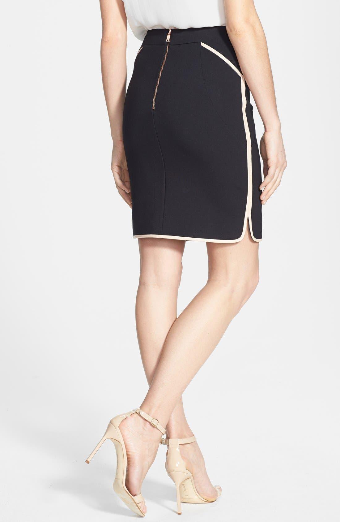 Alternate Image 2  - Ted Baker London Leather Trim Pencil Skirt