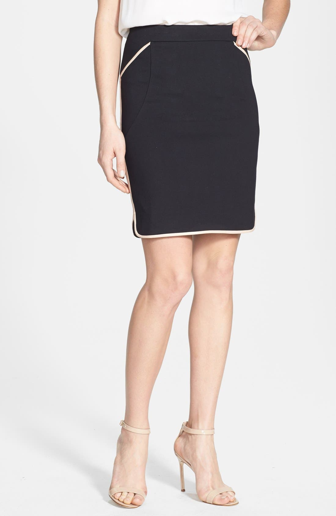Main Image - Ted Baker London Leather Trim Pencil Skirt