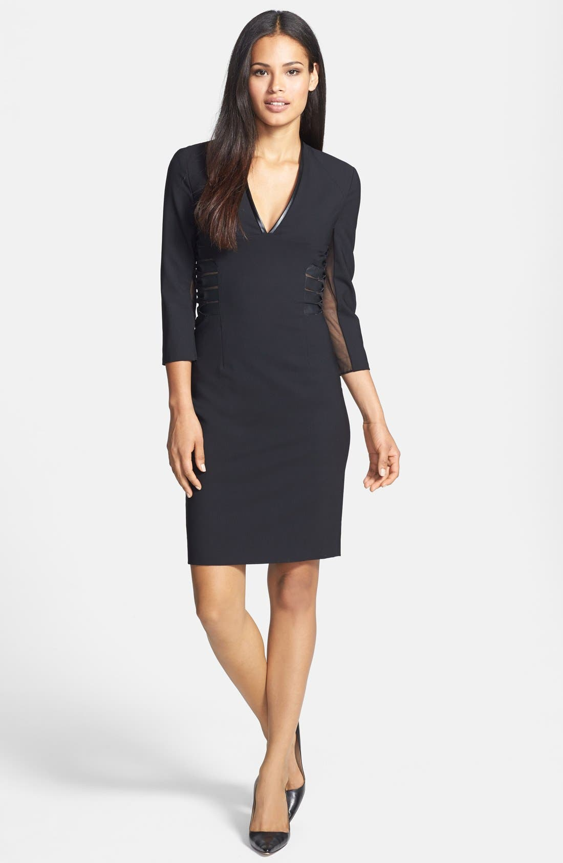Alternate Image 1 Selected - Rachel Roy Faux Leather Trim V-Neck Dress
