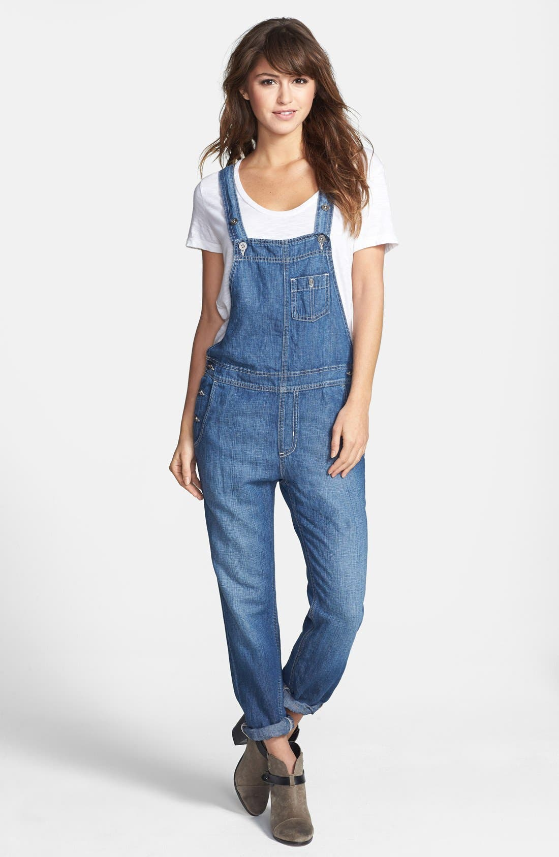Main Image - Big Star 'Heather' Denim Overalls (Junction) (Regular & Petite)