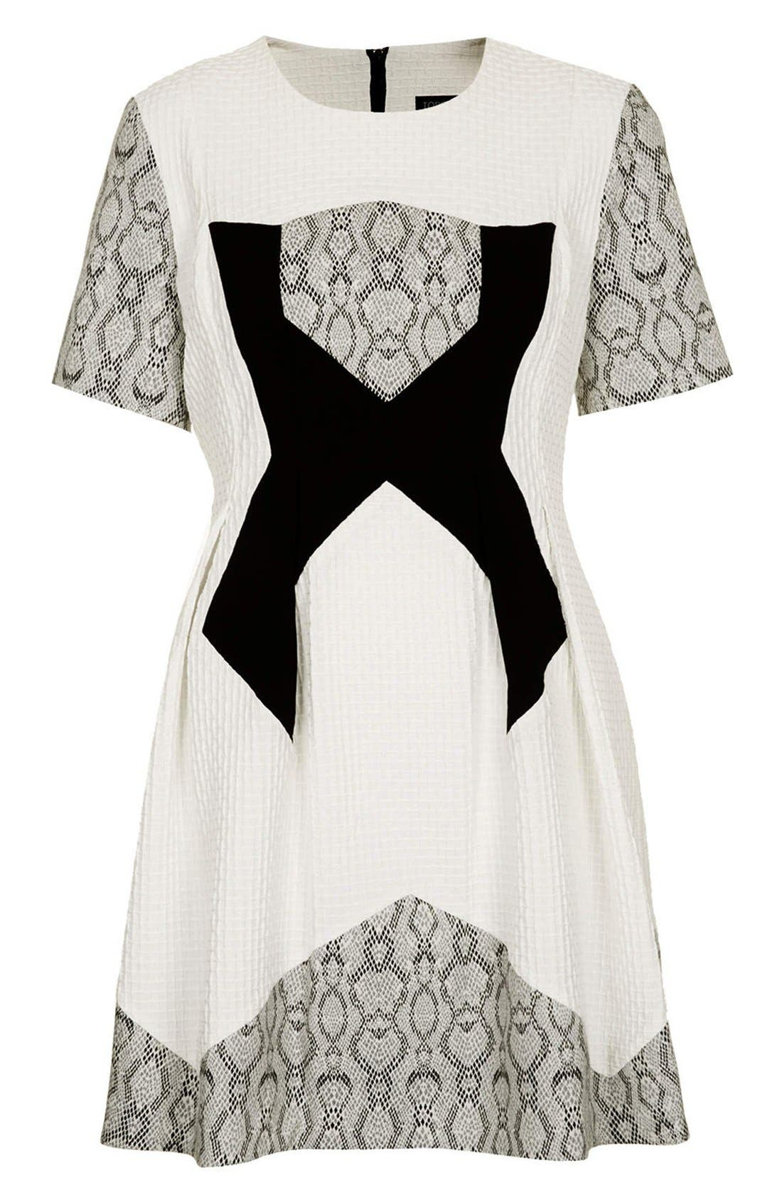 Alternate Image 3  - Topshop Mixed Media Fit & Flare Dress