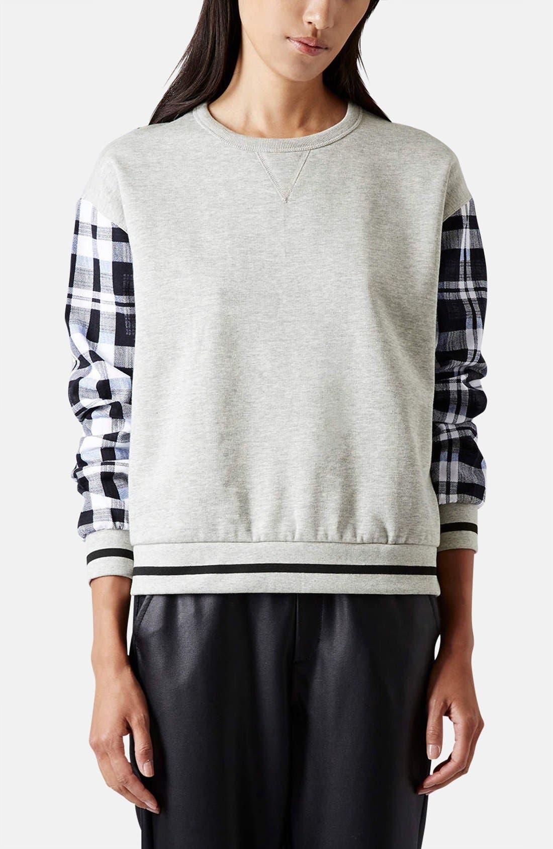 Alternate Image 1 Selected - Topshop Check Sleeve Sweatshirt