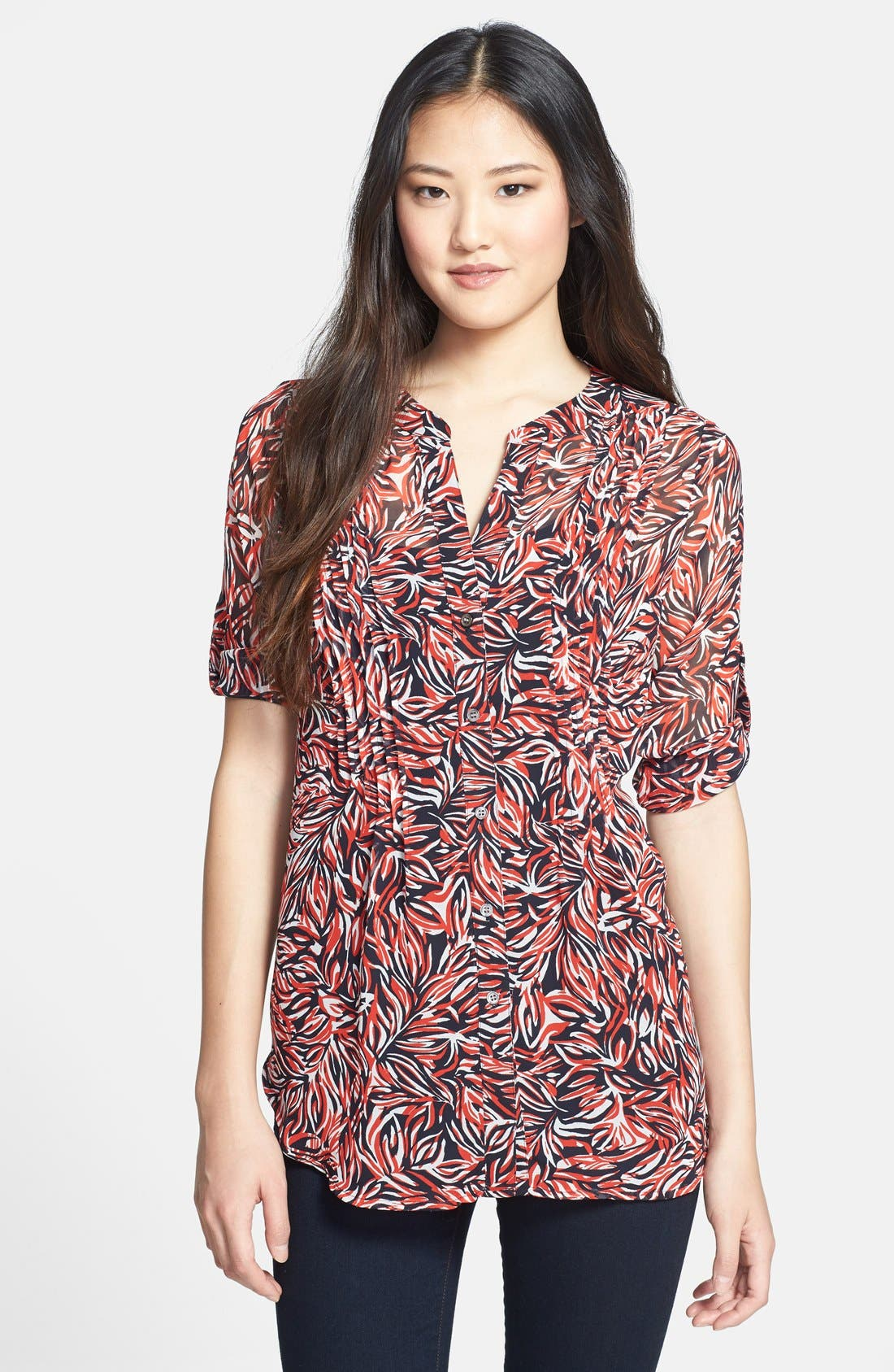 Main Image - Chaus 'Feather Floral' Print Pintuck Blouse