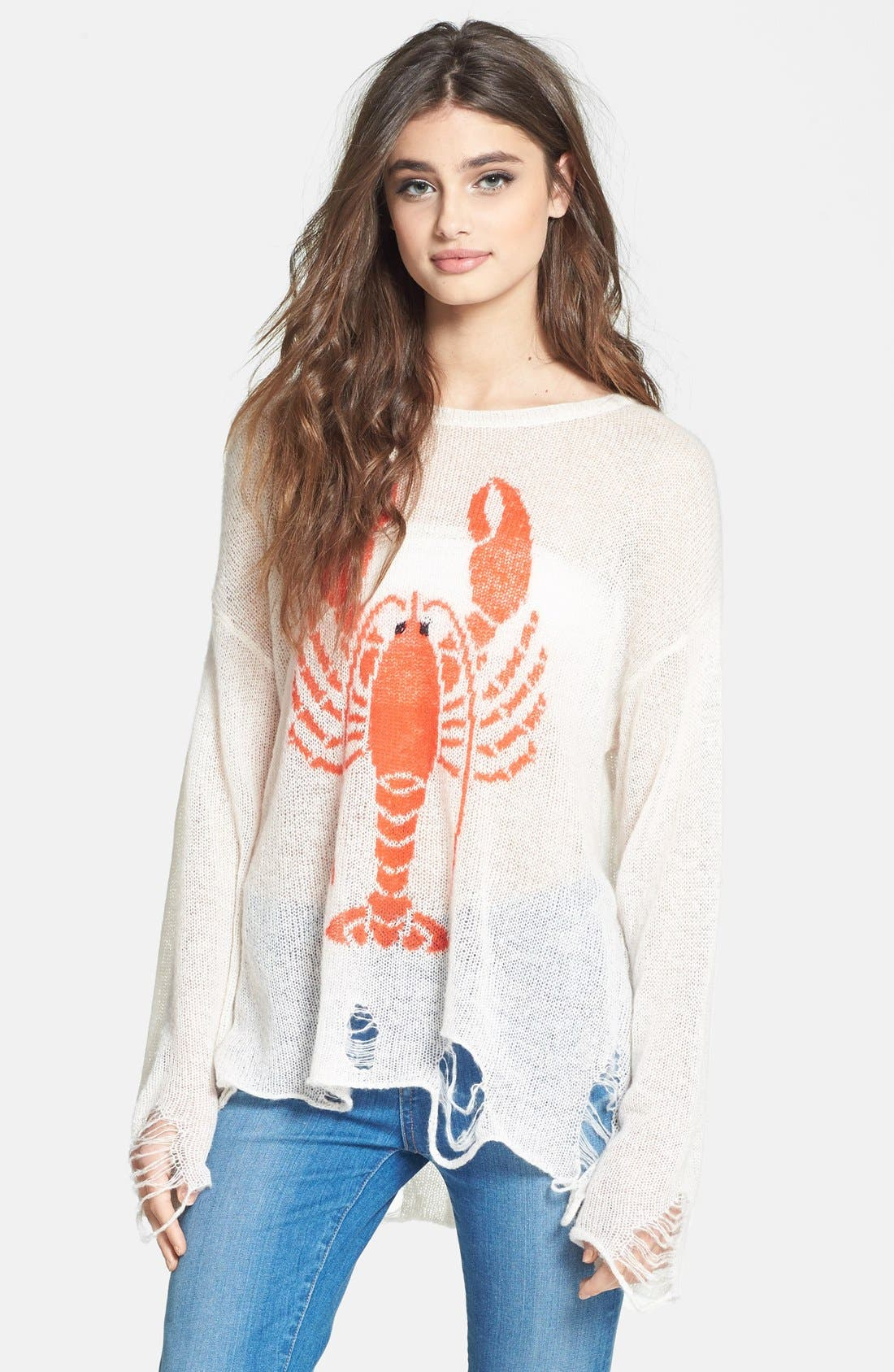 Alternate Image 1 Selected - Wildfox 'Lobster Lenon' Destroyed Sweater