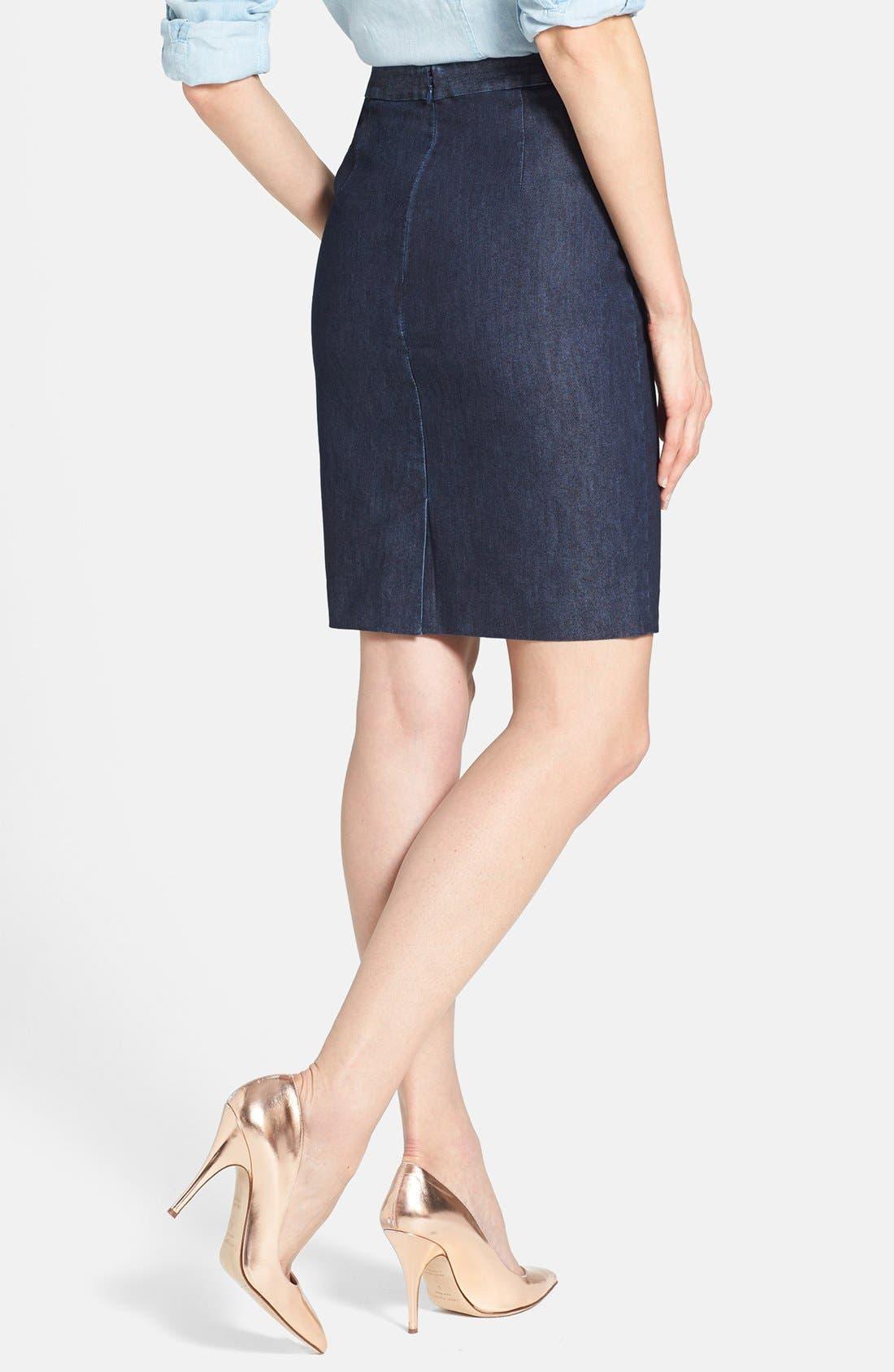 Alternate Image 2  - Halogen® Stretch Cotton Blend Pencil Skirt (Regular & Petite)