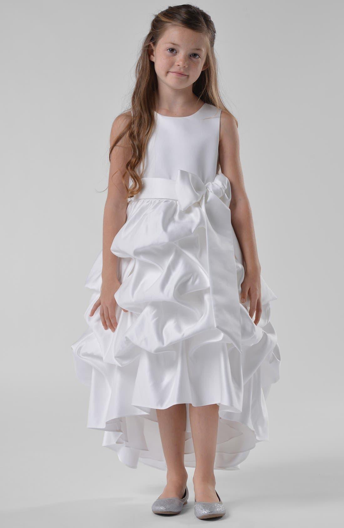 Alternate Image 1 Selected - Us Angels High/Low Satin Dress (Little Girls & Big Girls)
