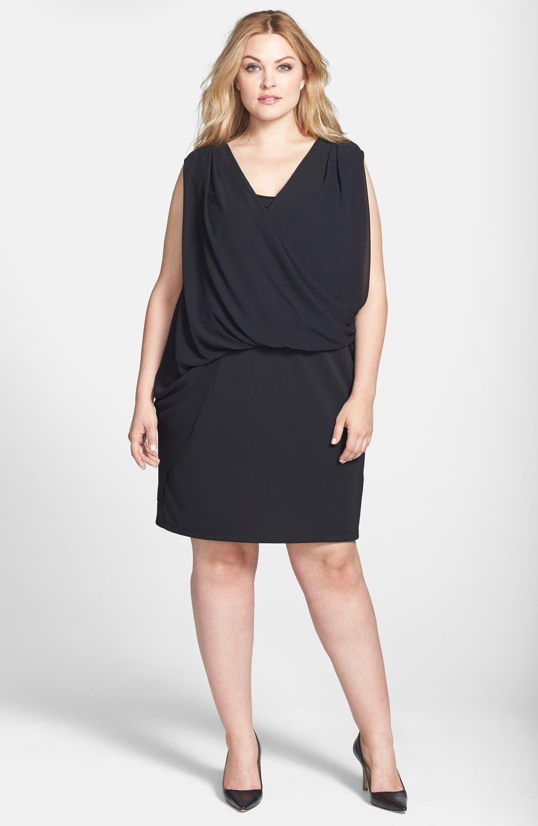Main Image - DKNYC Chiffon Overlay Dress (Plus Size)