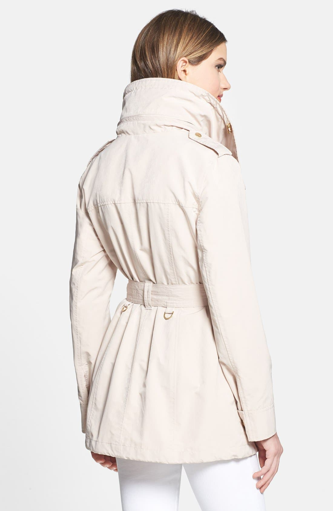 Alternate Image 2  - London Fog Asymmetrical Snap Front Trench Coat with Hidden Hood