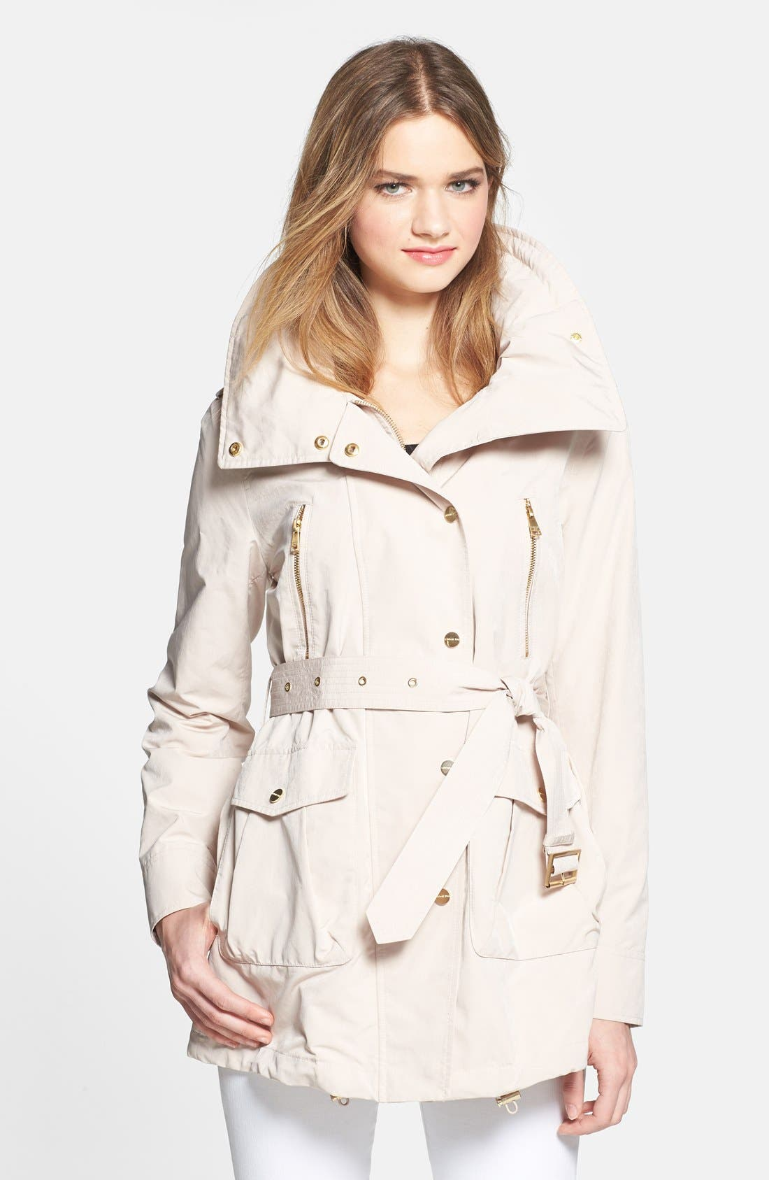 Main Image - London Fog Asymmetrical Snap Front Trench Coat with Hidden Hood