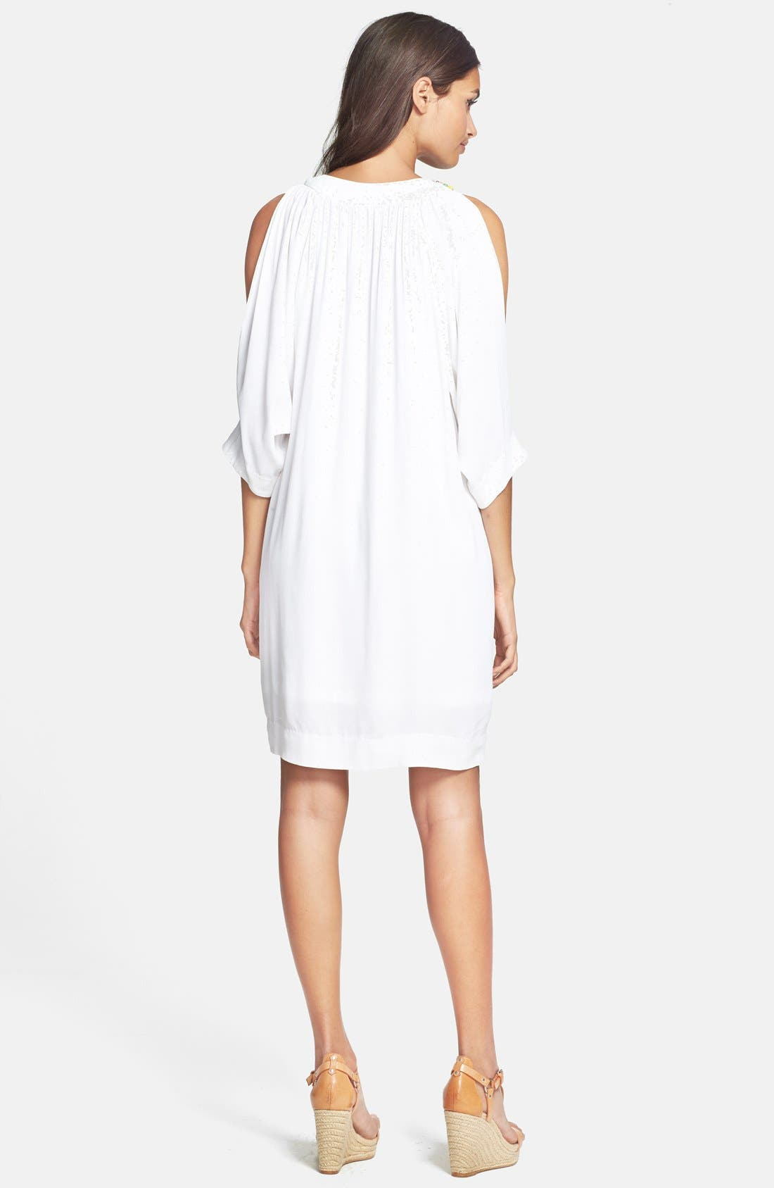 Alternate Image 2  - Nicole Miller Embellished Split Sleeve Crepe Dress