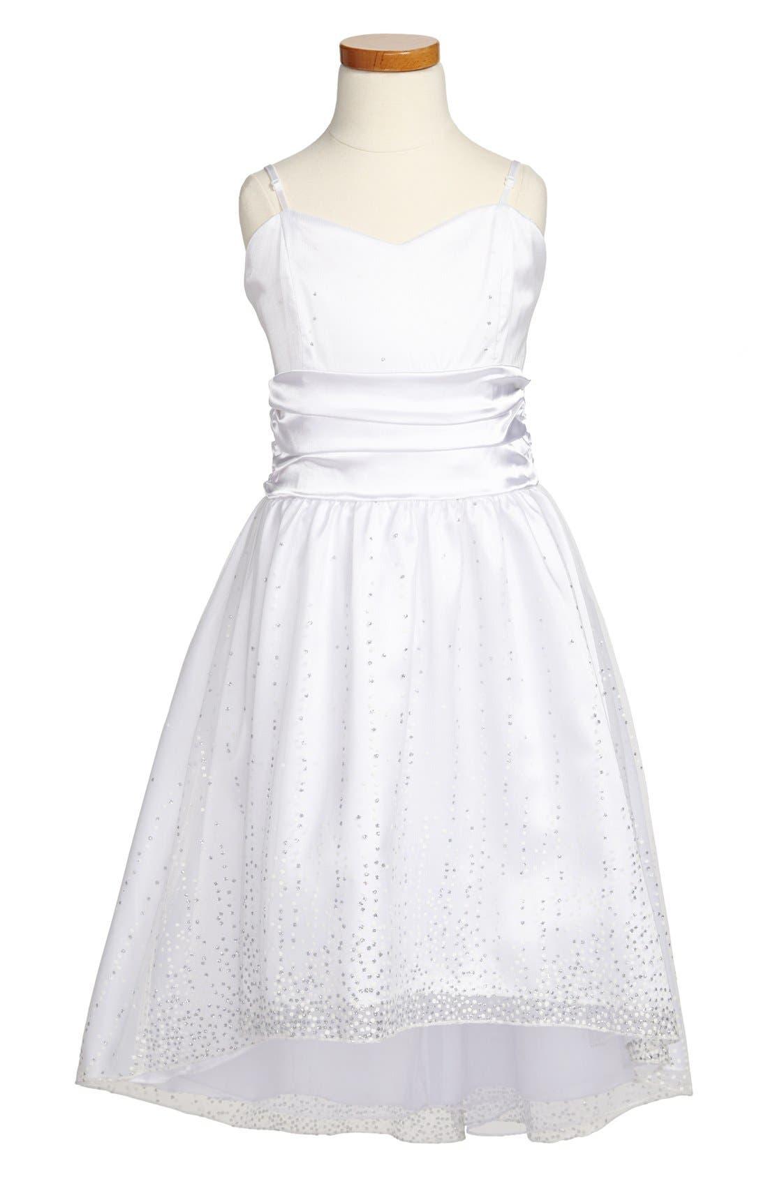 Main Image - Un Deux Trois 'Sequin Spray' High/Low Dress (Big Girls)
