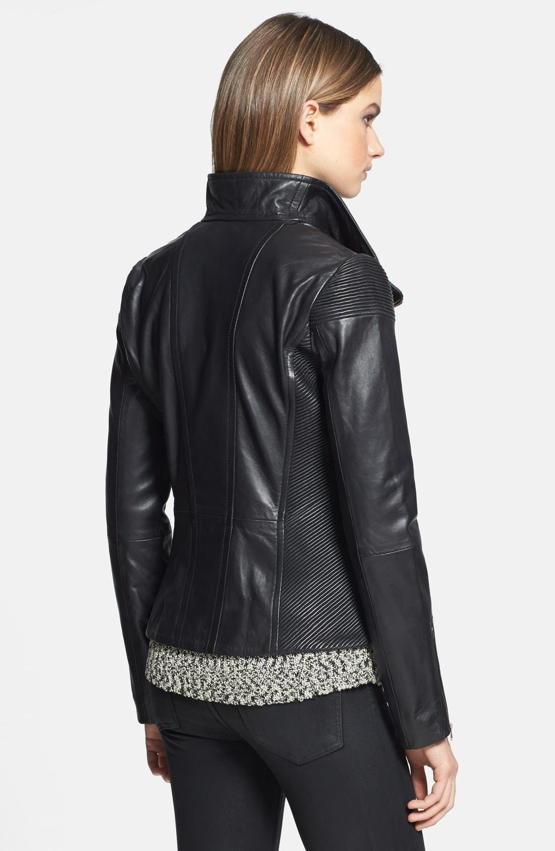Alternate Image 2  - Ted Baker London 'Lahara' Convertible Collar Leather Jacket