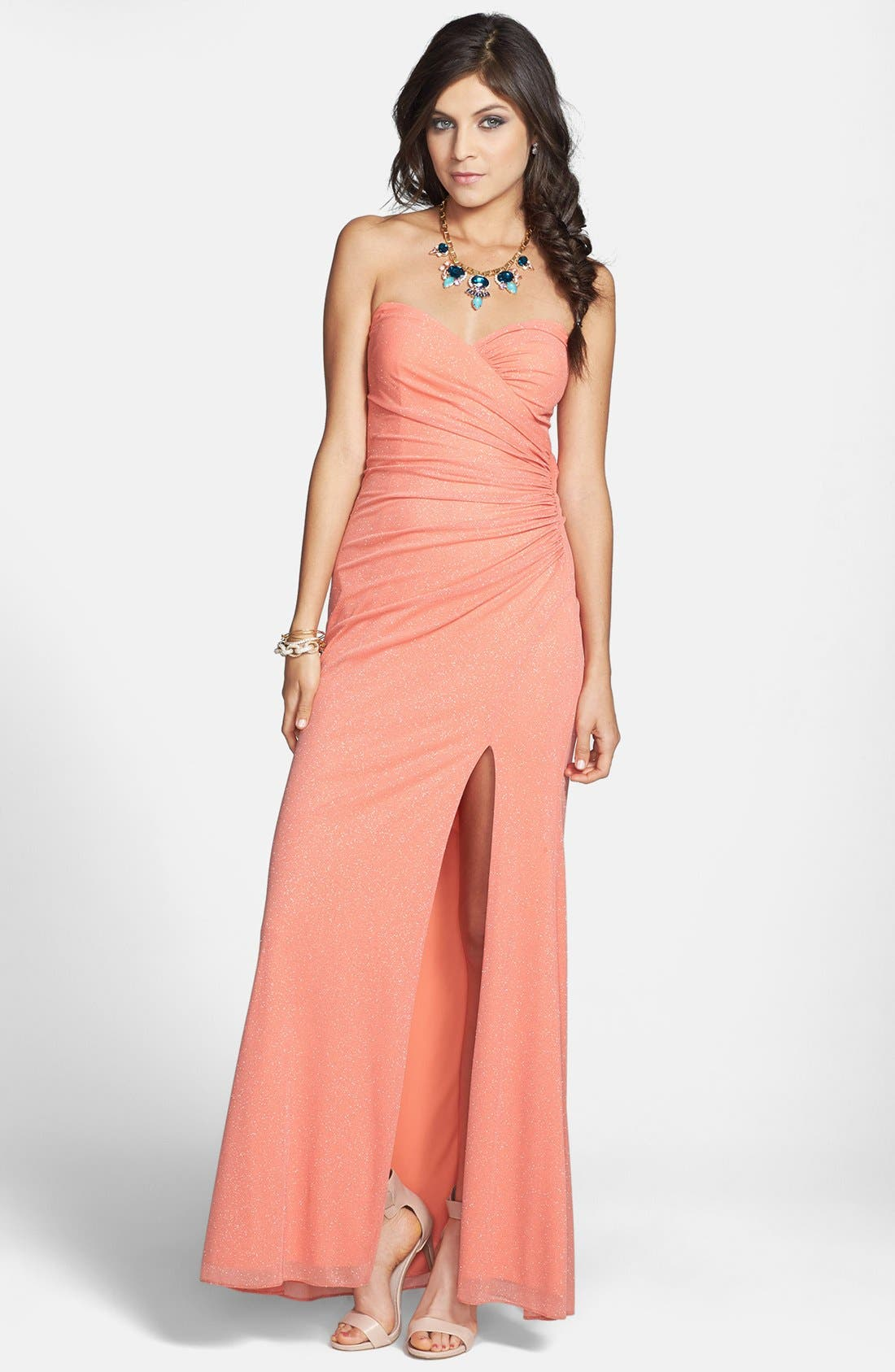 Alternate Image 1 Selected - Hailey Logan Embellished Back Cutout Strapless Gown (Juniors) (Online Only)