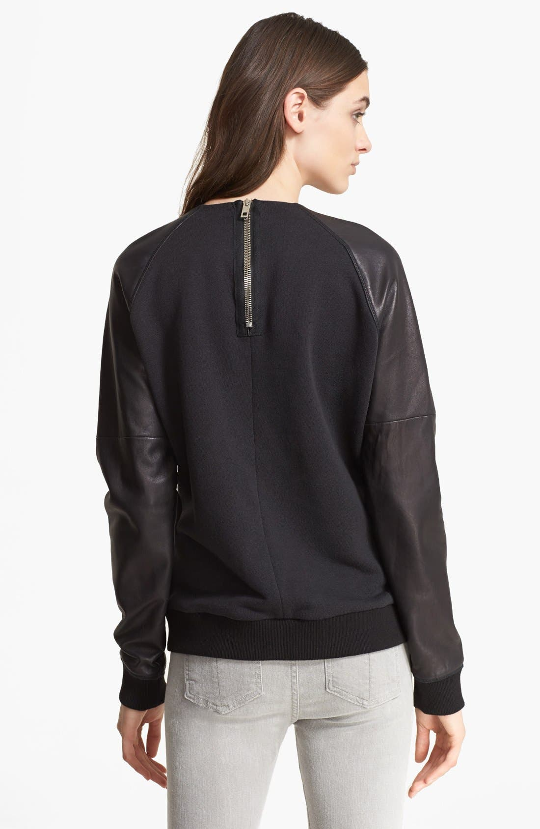 Alternate Image 2  - rag & bone Leather & Cotton Blend Sweater