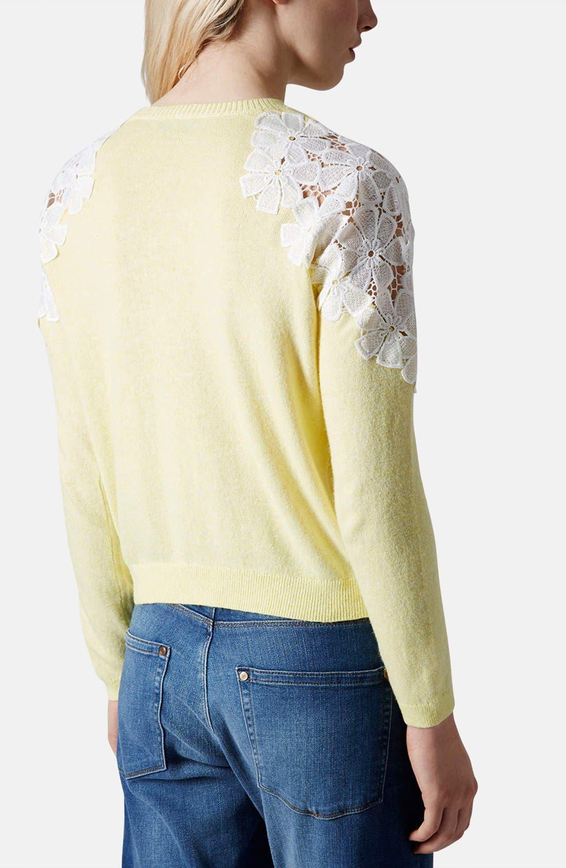 Alternate Image 2  - Topshop Embroidered Shoulder Knit Sweater