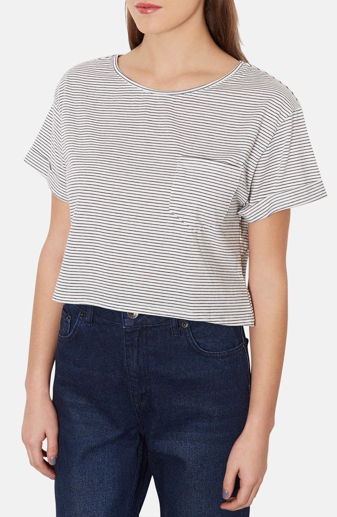 Main Image - Topshop Cotton Crop Tee (Petite)