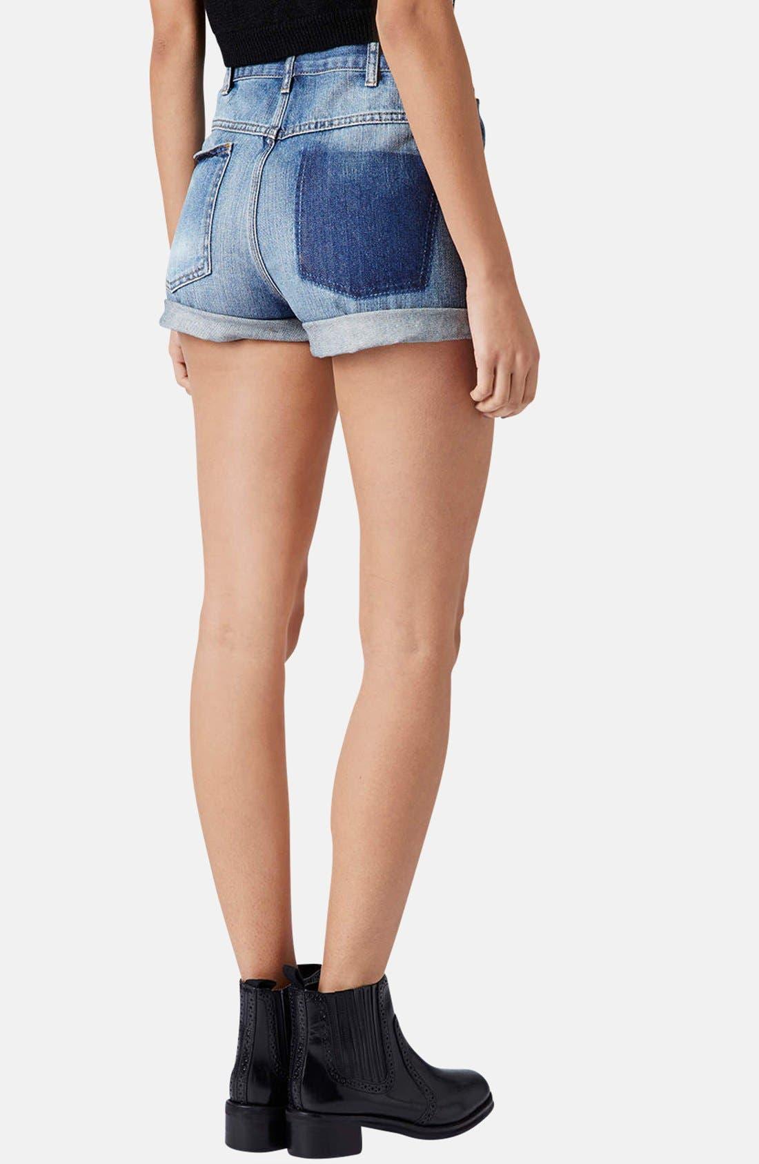 Alternate Image 2  - Topshop Moto 'Rosa' High Rise Denim Shorts (Mid Stone)