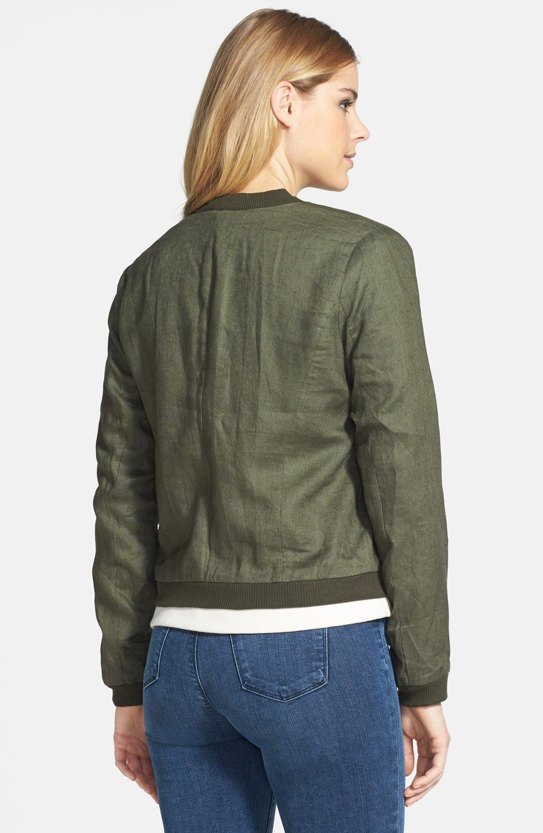 Alternate Image 2  - Olivia Moon Linen Bomber Jacket