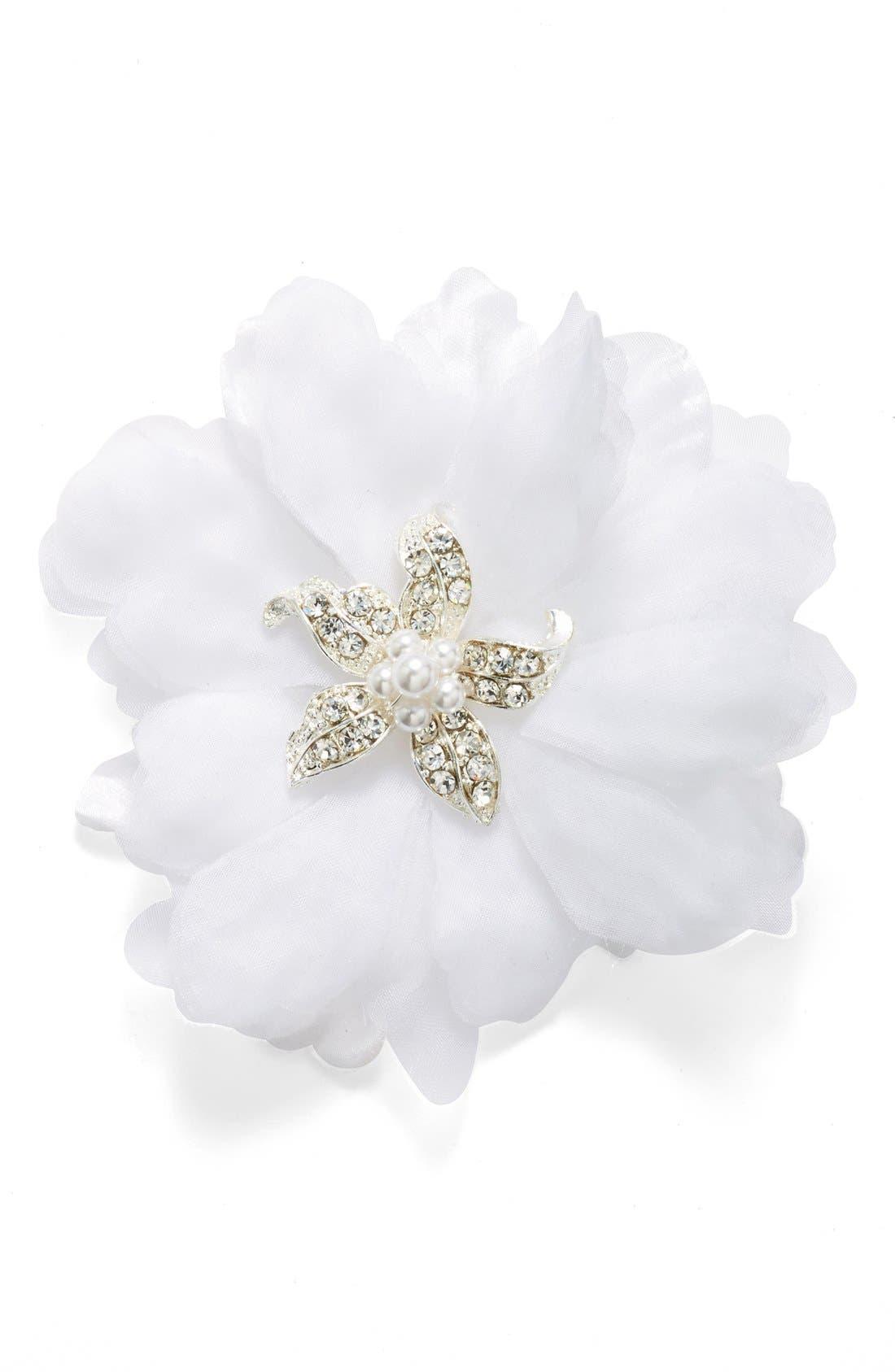 Main Image - Wedding Belles New York Organza Flower Hair Clip (Girls)