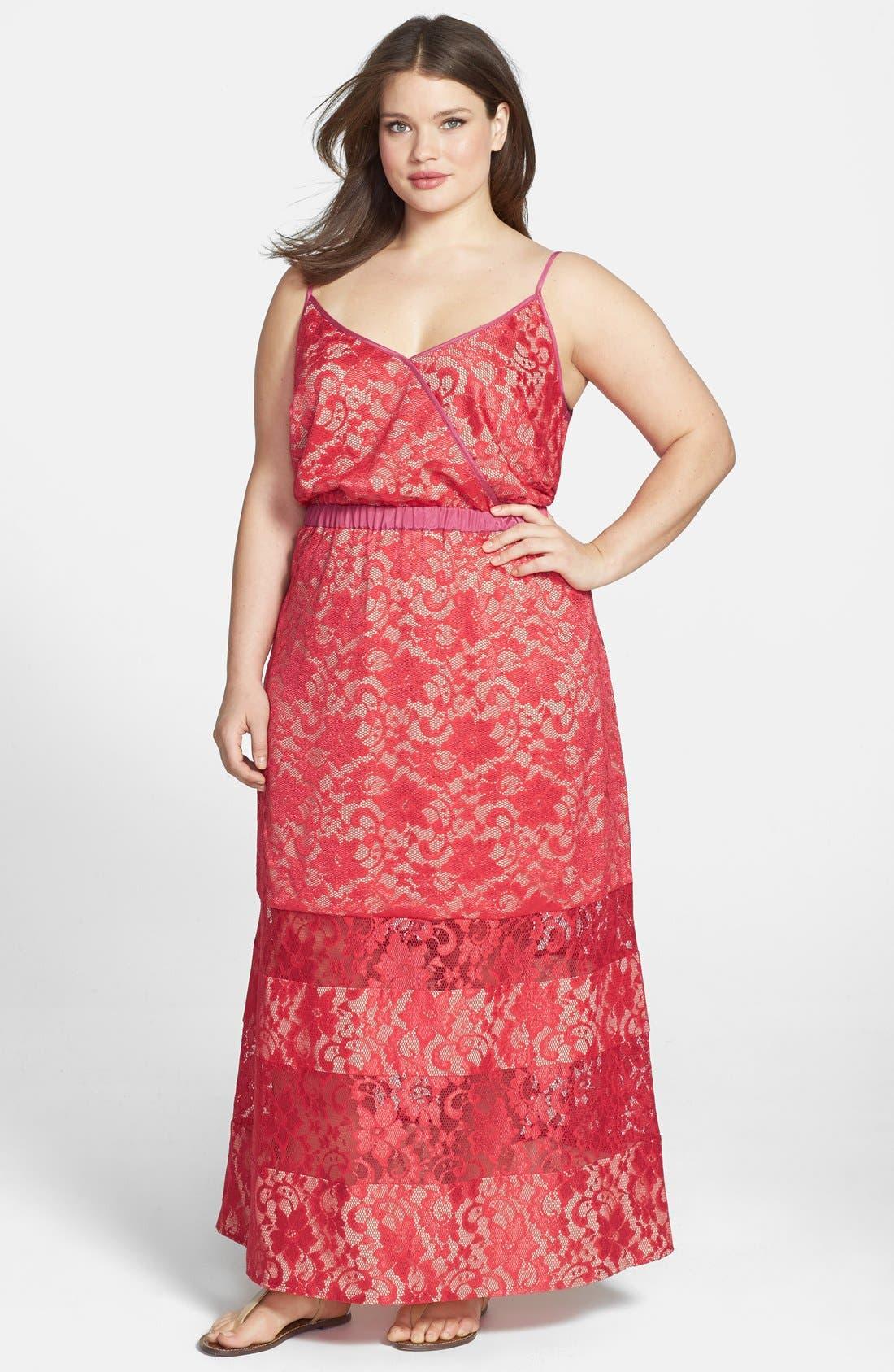 Main Image - ABS by Allen Schwartz Lace Maxi Dress (Plus Size)