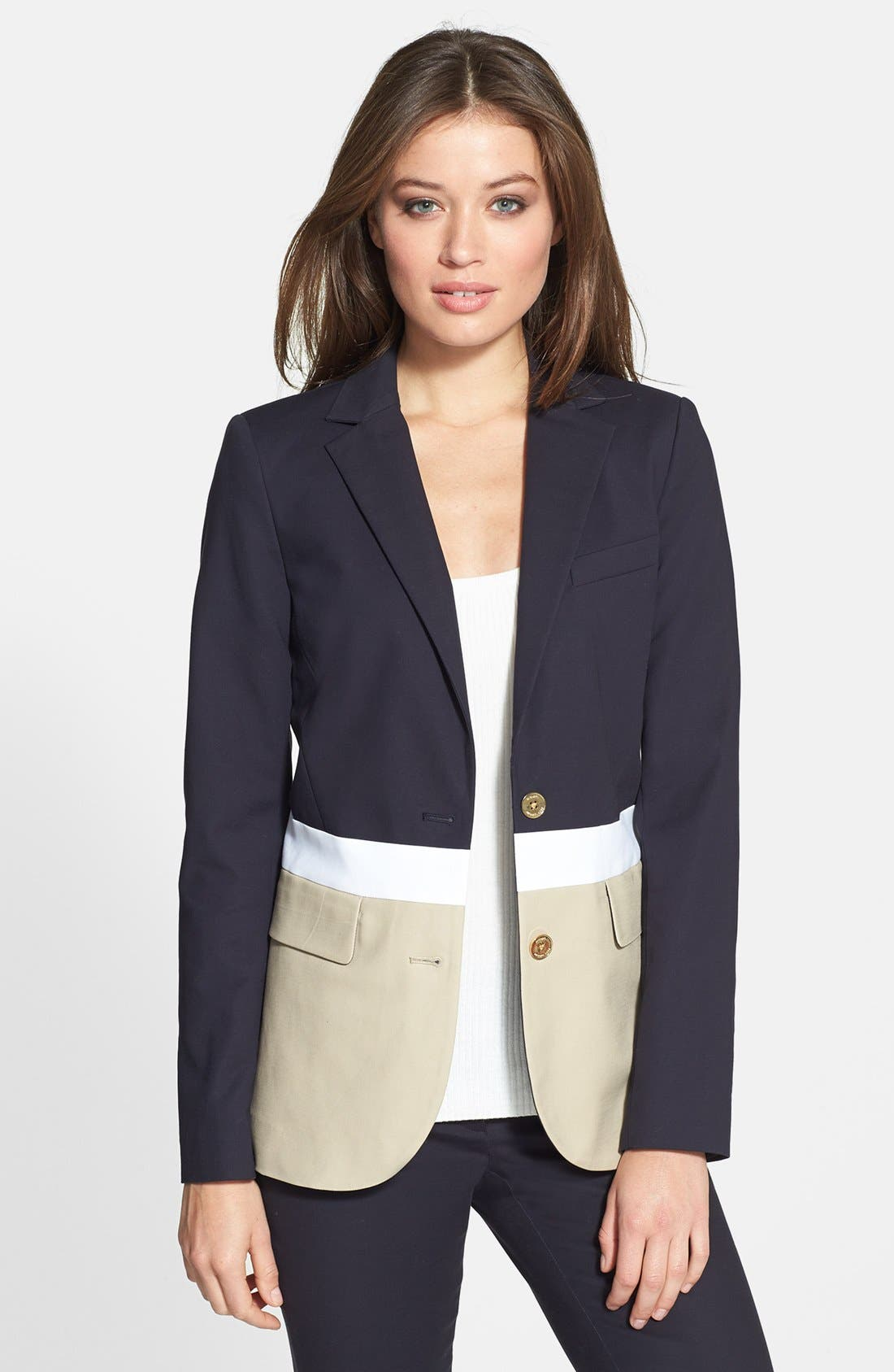 Alternate Image 1 Selected - MICHAEL Michael Kors Colorblock Two-Button Blazer (Petite)