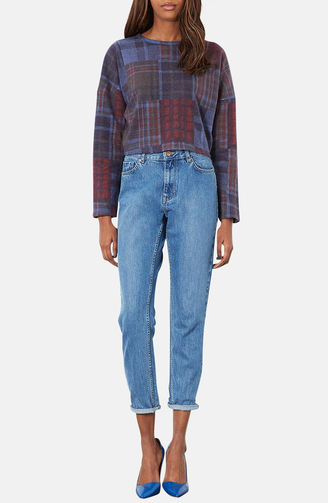 Alternate Image 4  - Topshop Mixed Plaid Crop Sweater (Petite)