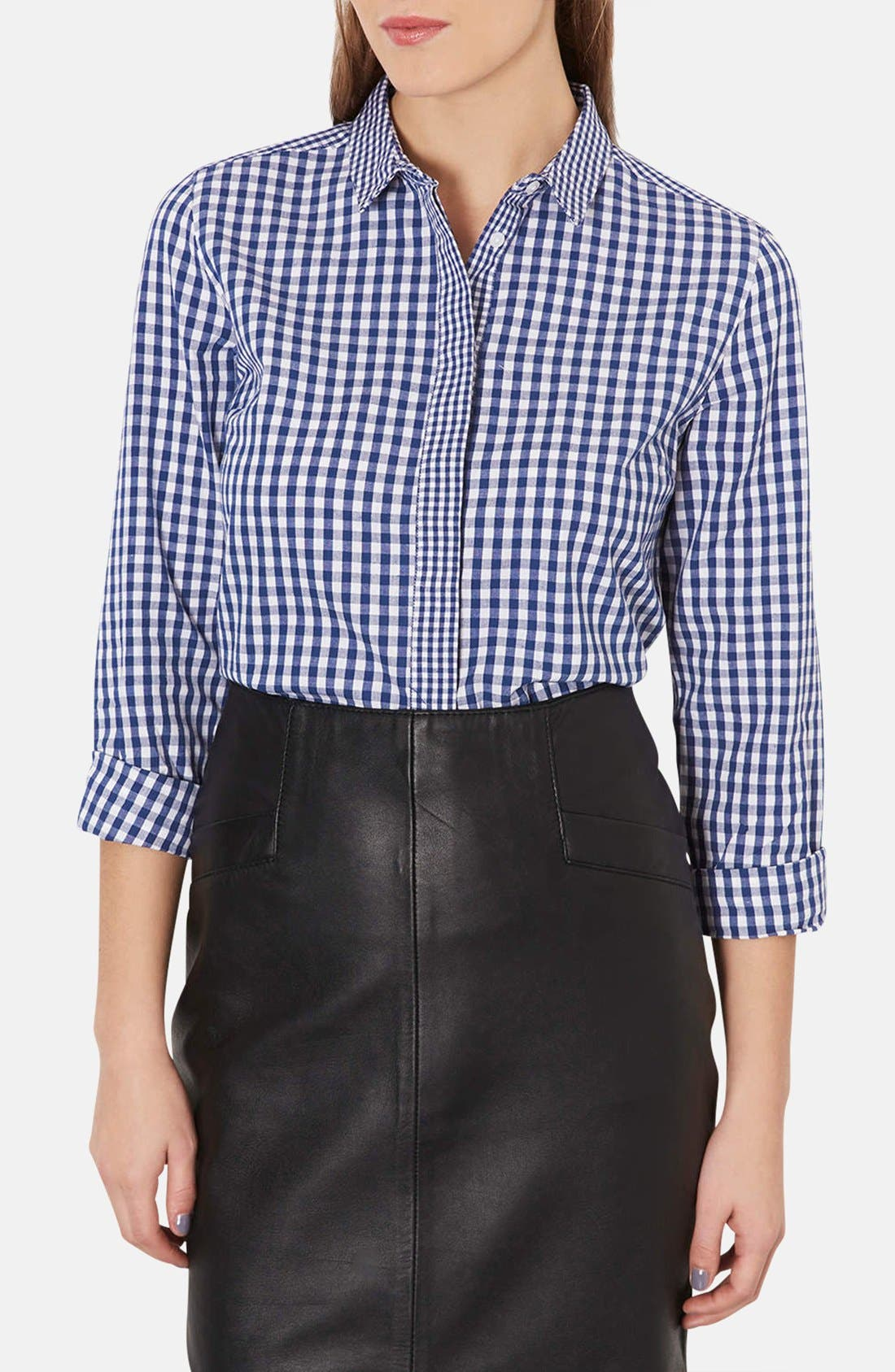 Alternate Image 1 Selected - Topshop Mix Gingham Print Cotton Shirt