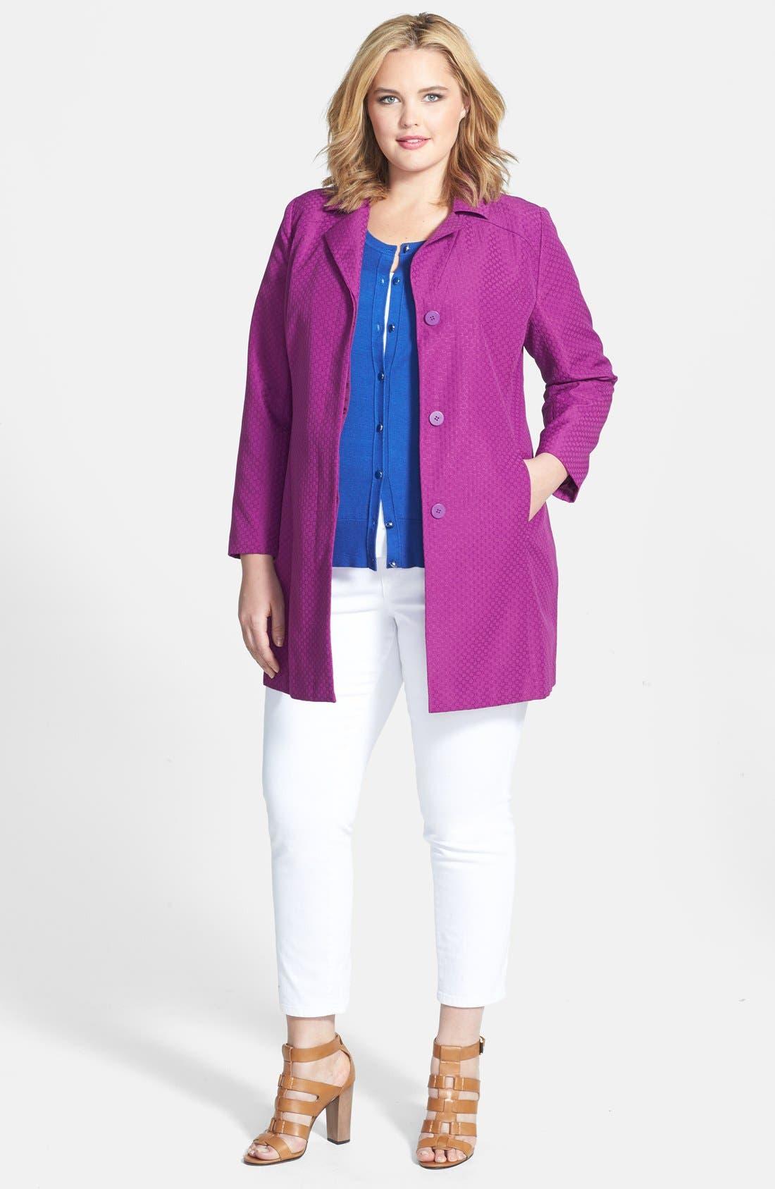 Alternate Image 4  - Sejour Jacquard Topper Jacket (Plus Size)