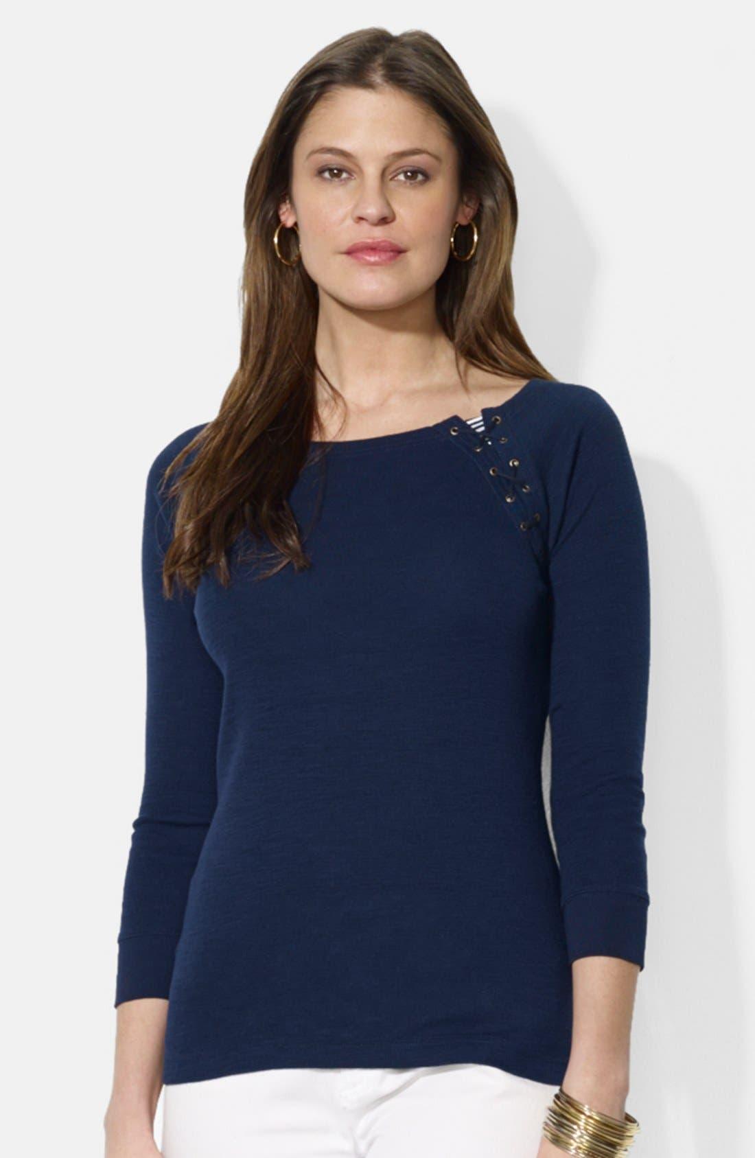 Main Image - Lauren Ralph Lauren Lace-Up Detail Cotton Top
