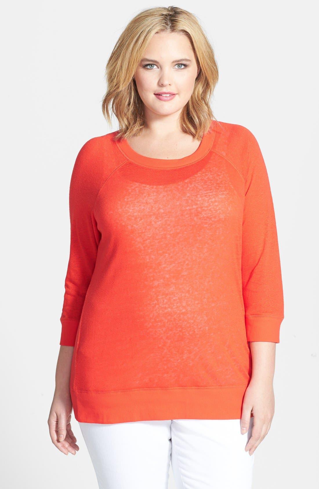 Main Image - Halogen® Three Quarter Sleeve Jersey Sweatshirt (Plus Size)