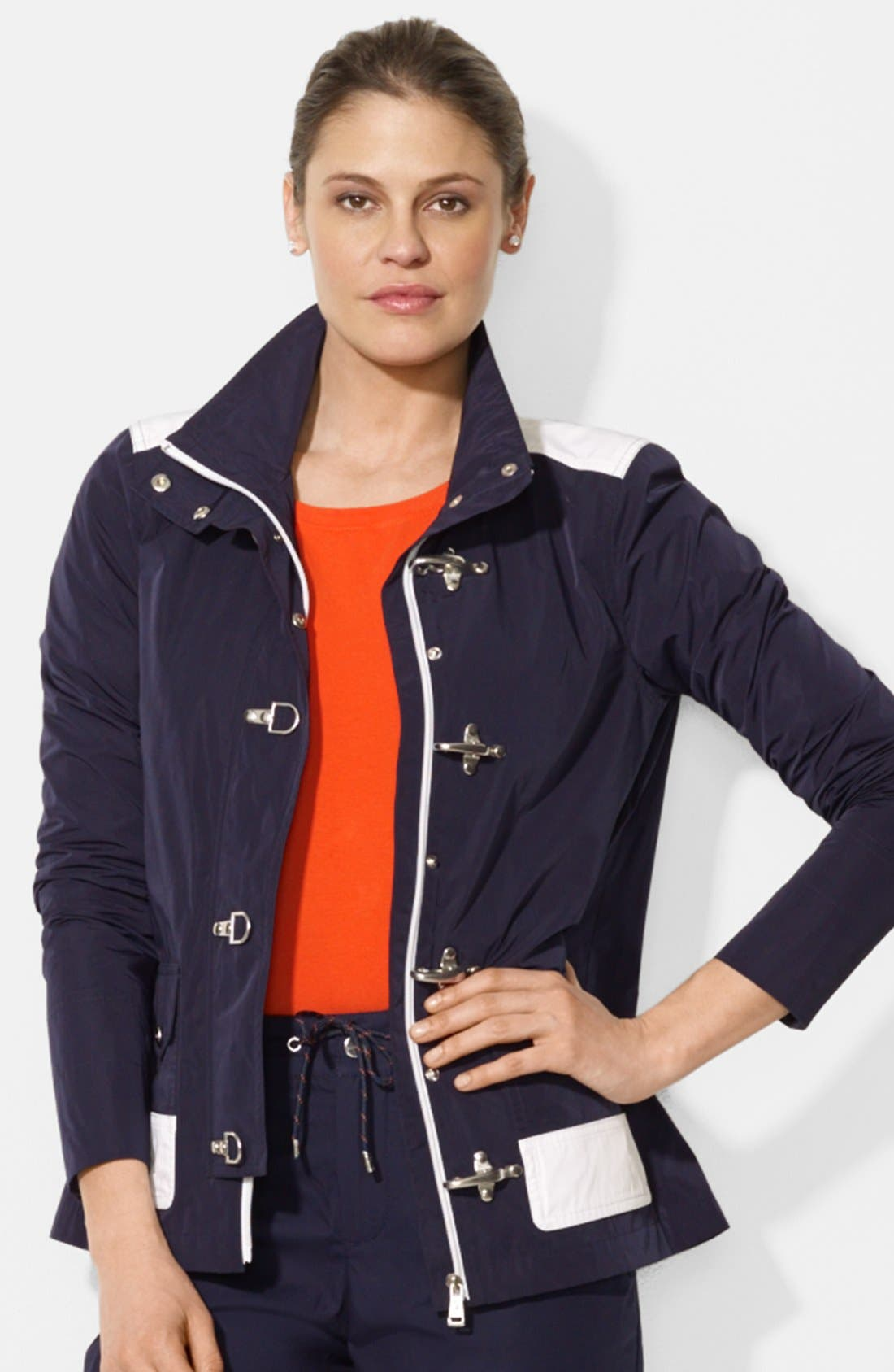 Main Image - Lauren Ralph Lauren Clasp Closure Stand Collar Jacket