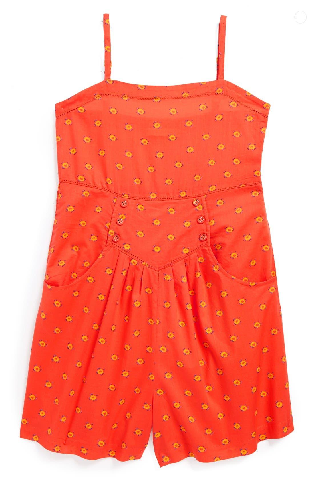 Alternate Image 1 Selected - Stella McCartney Floral Print Cotton Romper (Toddler Girls, Little Girls & Big Girls)