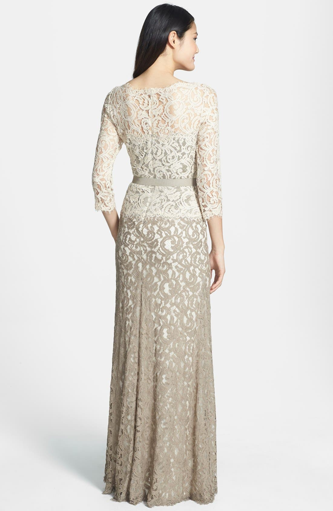 Alternate Image 2  - Tadashi Shoji Mock Two Piece Lace Gown (Regular & Petite)
