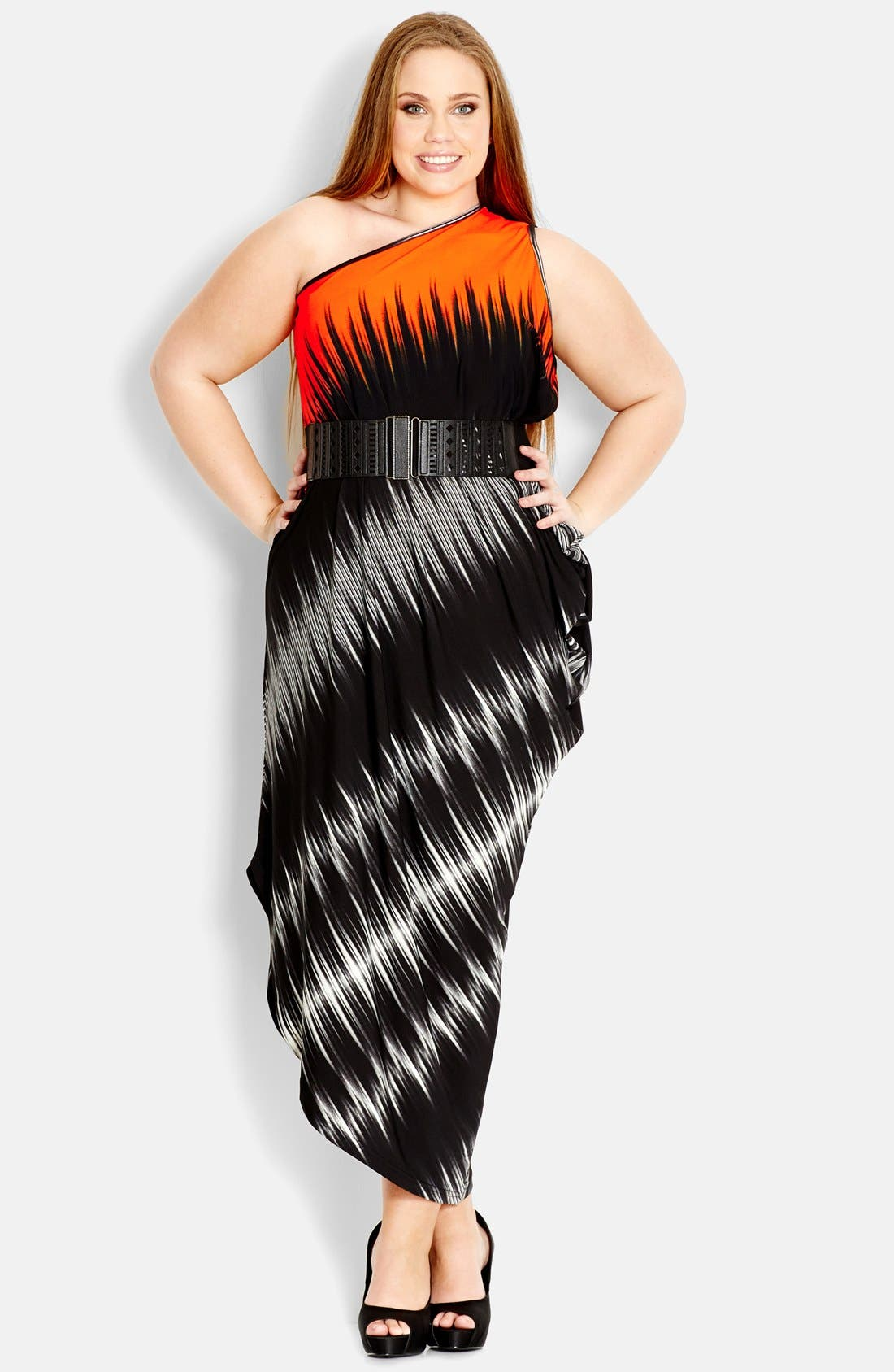 Alternate Image 1 Selected - City Chic One-Shoulder Dress (Plus Size)