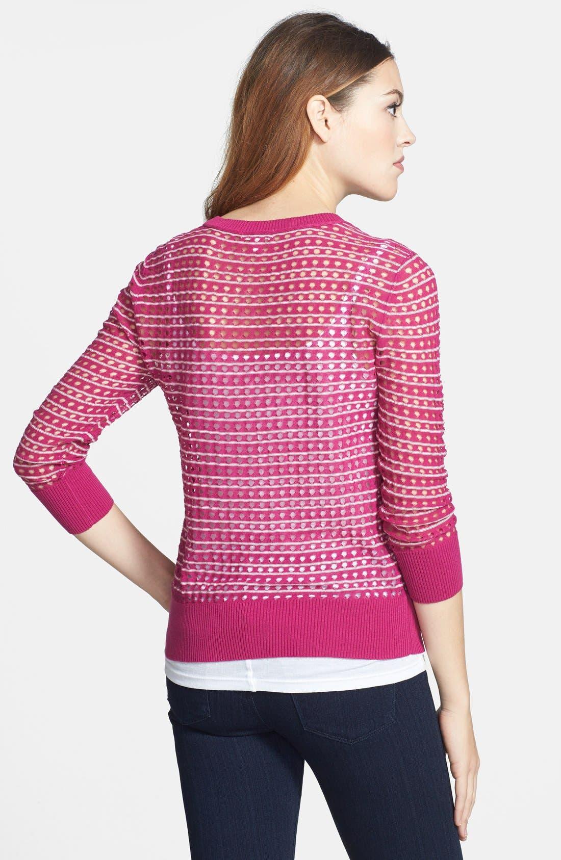 Alternate Image 2  - Caslon® Three Quarter Sleeve Pointelle Stripe Sweater