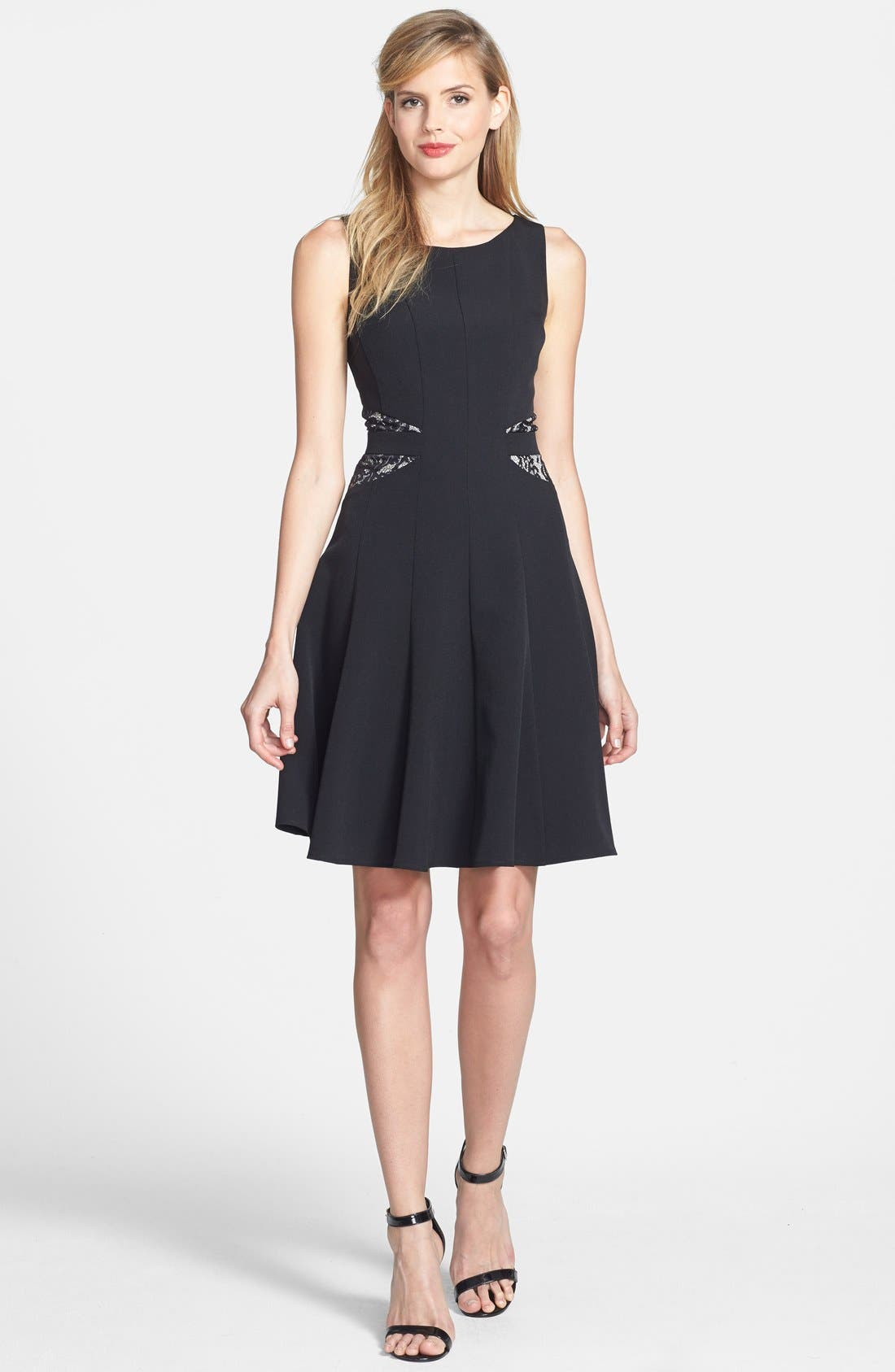 Alternate Image 2  - Taylor Dresses Lace Back Crepe Fit & Flare Dress